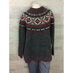 Eddie Bauer Brown Wool Fair Isle Sweater Large